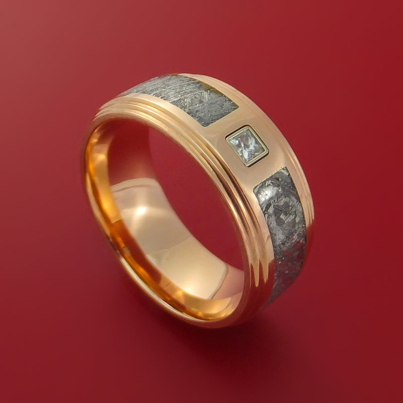 14k Rose Gold Ring with Gibeon Meteorite Inlay and Diamond Custom Made Band