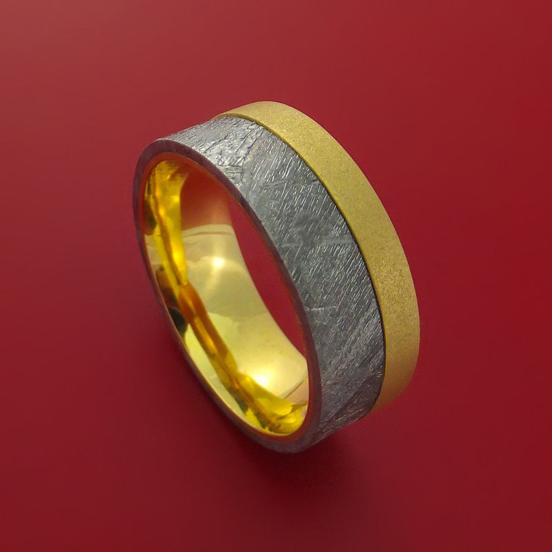 18K Yellow Gold Ring with Gibeon Meteorite Inlay Custom Made Band