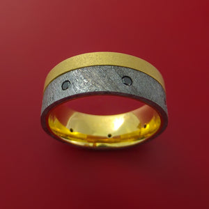 18K Yellow Gold Ring with Gibeon Meteorite Inlay and Diamond Custom Made Band