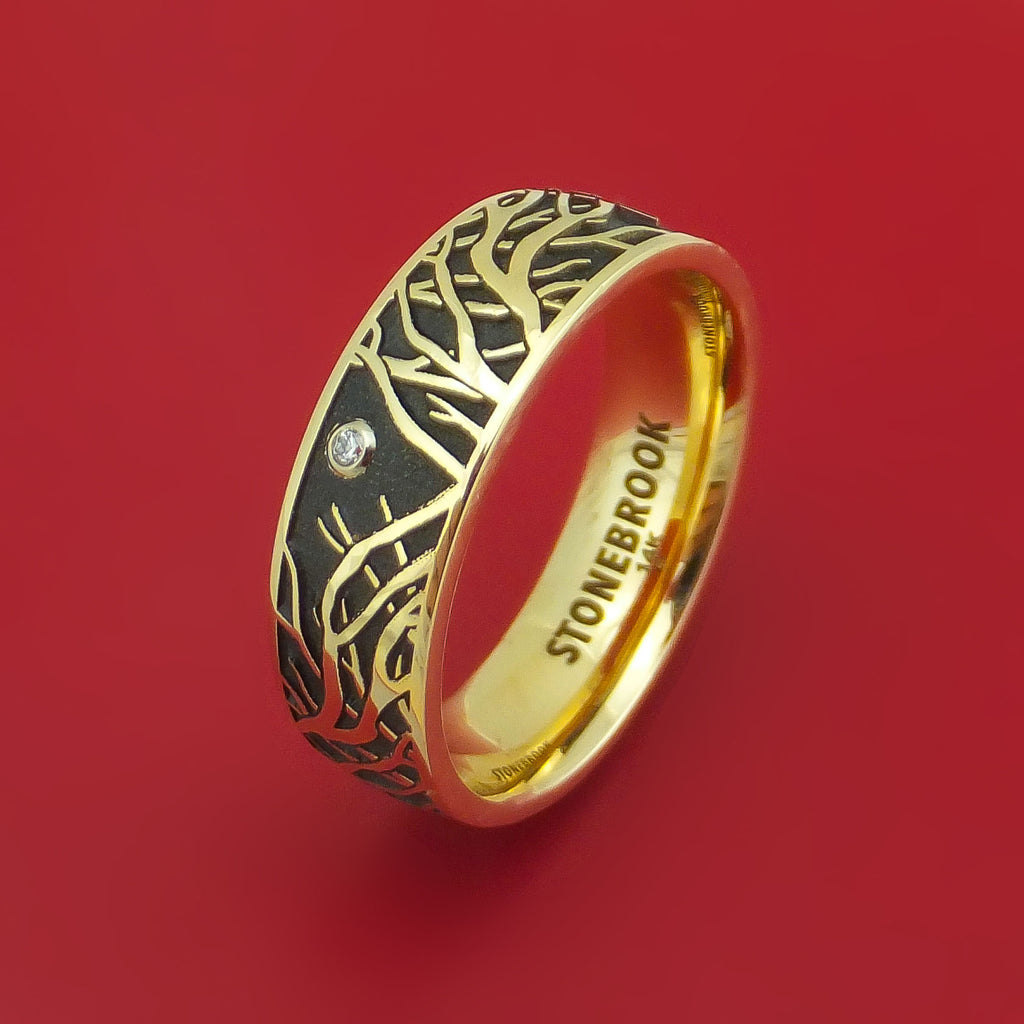 14K Yellow Gold Ring with Tree Branches and Diamond Custom Made Band