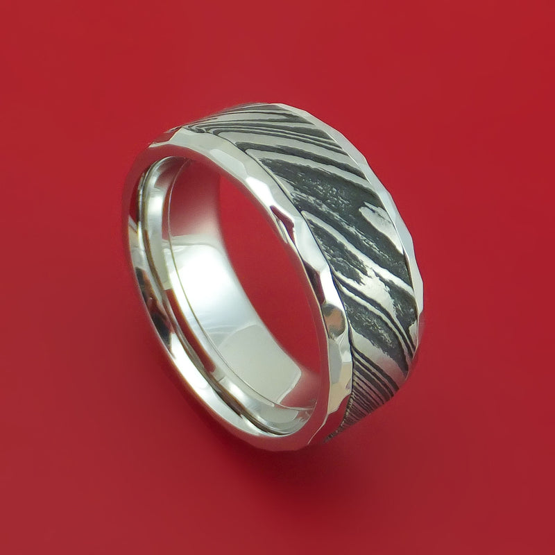 Kuro Damascus Steel in Cobalt Chrome Hammered Wedding Band Custom Made