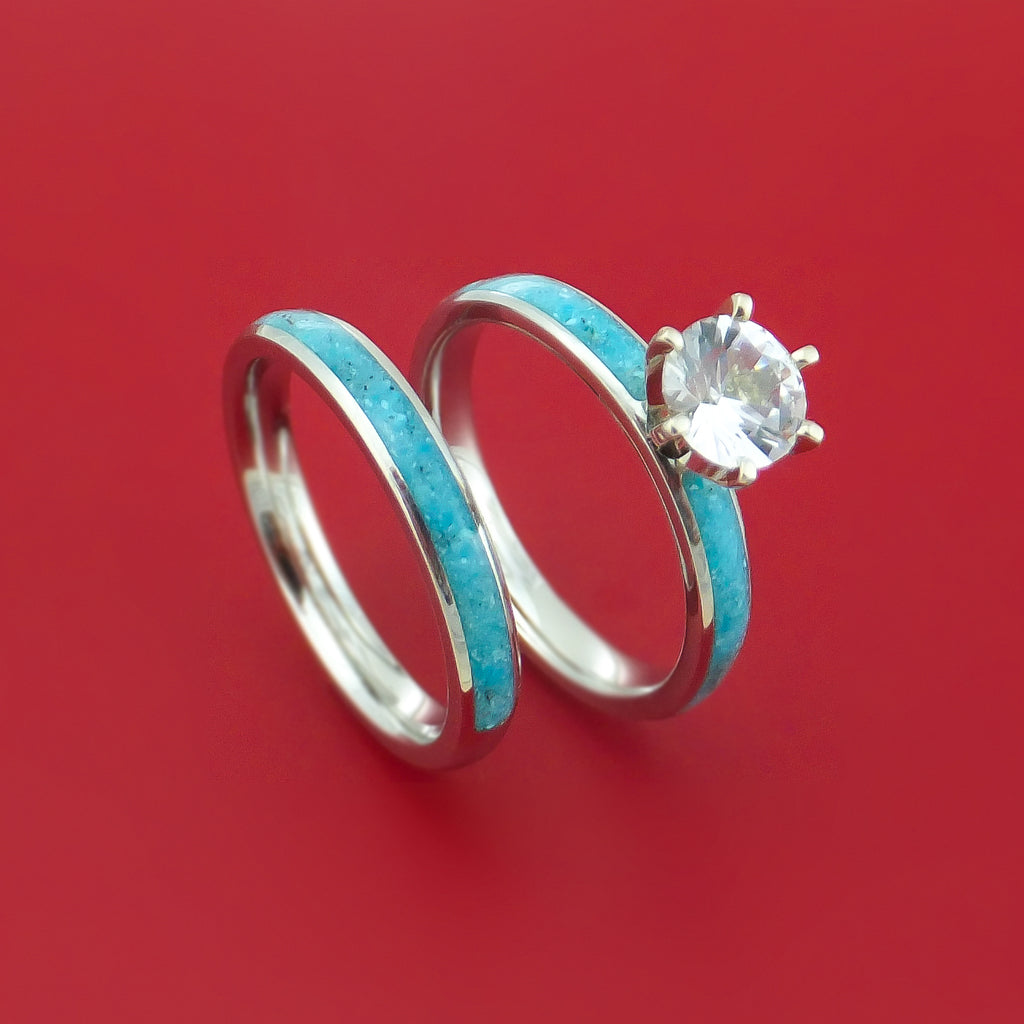 Cobalt Chrome and White Sapphire Engagement and Wedding Ring Set with Turquoise Inlay Custom Made