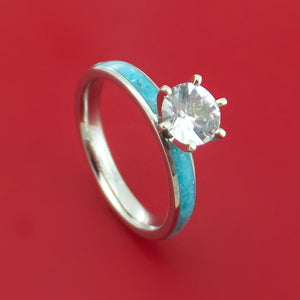 Cobalt Chrome Ring with Turquoise Inlay and White Sapphire Custom Made Band