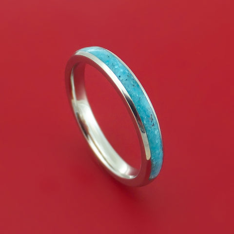 Cobalt Chrome Wedding Band with Turquoise Inlay Custom Made