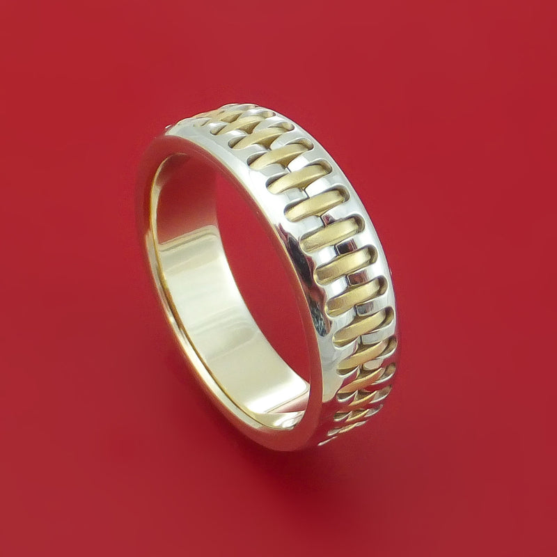 14K White and Yellow Gold Band Custom Made Ring