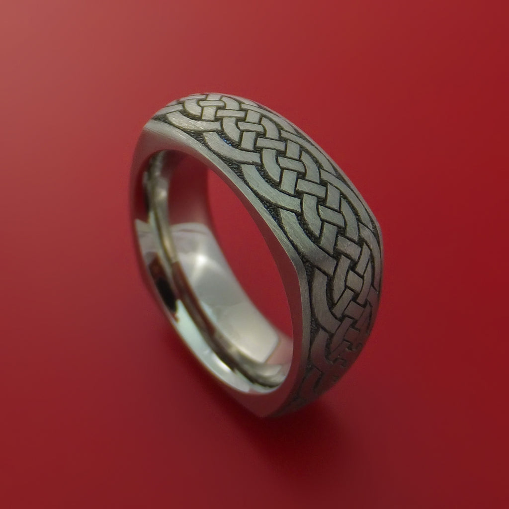 Square Titanium Celtic Band with Knot Design Custom Made by Stonebrook Jewelry