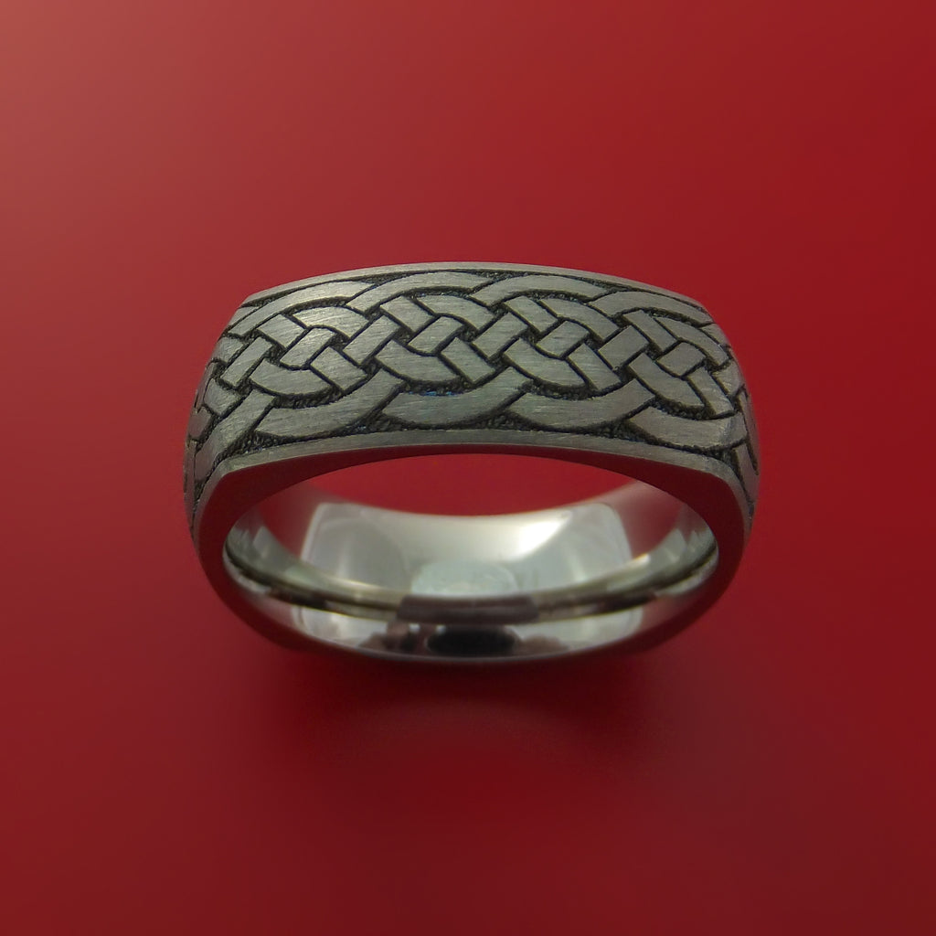 Square Titanium Celtic Band with Knot Design Custom Made - Stonebrook Jewelry  - 2