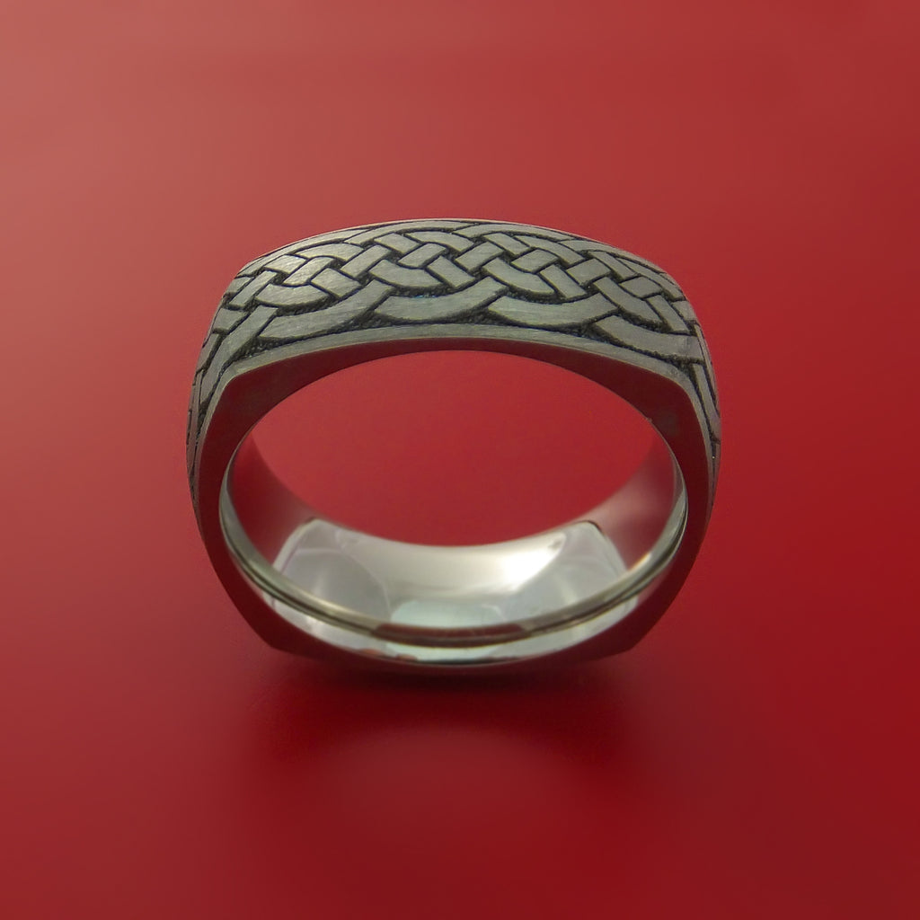 Square Titanium Celtic Band with Knot Design Custom Made - Stonebrook Jewelry  - 3