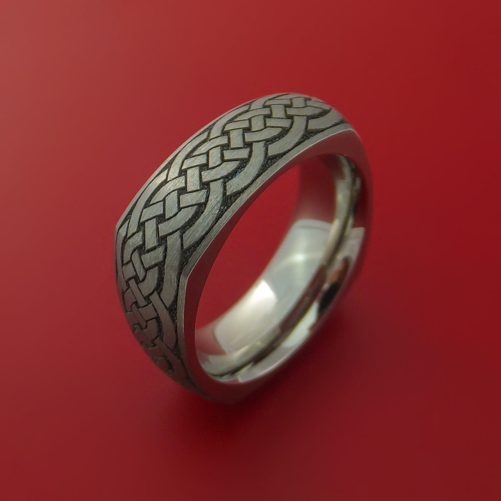 Square Titanium Celtic Band with Knot Design Custom Made - Stonebrook Jewelry  - 4