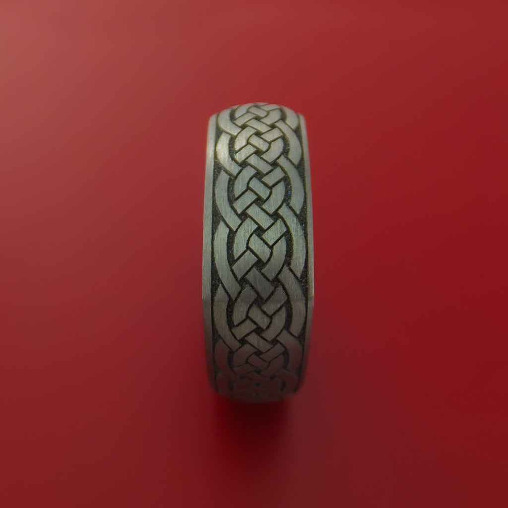 Square Titanium Celtic Band with Knot Design Custom Made - Stonebrook Jewelry  - 5