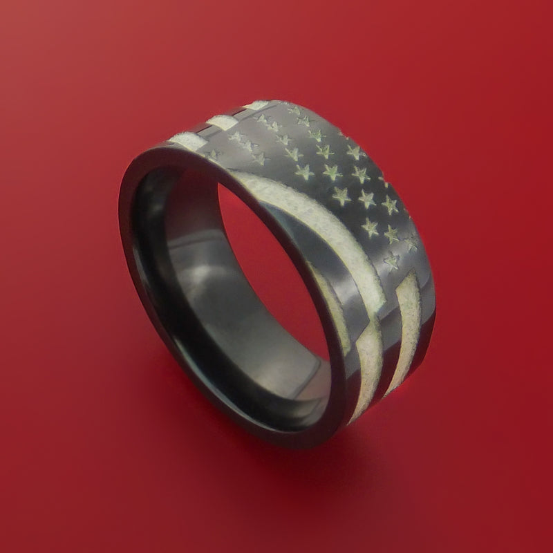 Black Zirconium American Flag Custom Made United States Flag Ring