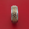 Tungsten Ring with 14K Rose Gold Custom Made Hammered Band