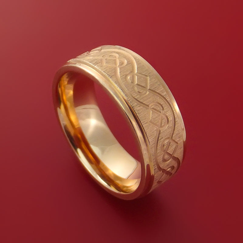 14K Rose Gold Ring with Celtic Heart Design Custom Made Band
