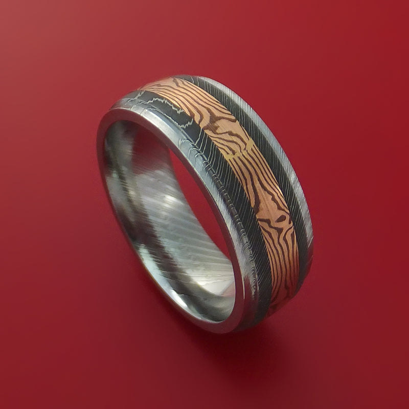 Damascus Steel and 14k Rose Gold Mokume Gane Shakudo Ring Custom Made