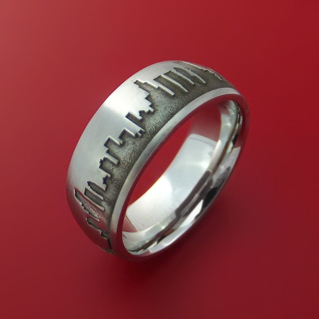 Cobalt Chrome Ring with Chicago Skyline Cityscape Custom Made Band
