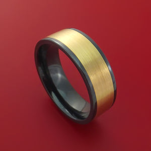 Black Zirconium Ring with Wide 14K Yellow Gold Inlay Custom Made Band