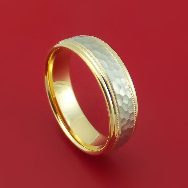 14k Yellow Gold and Hammered White Gold Band Custom Made Ring