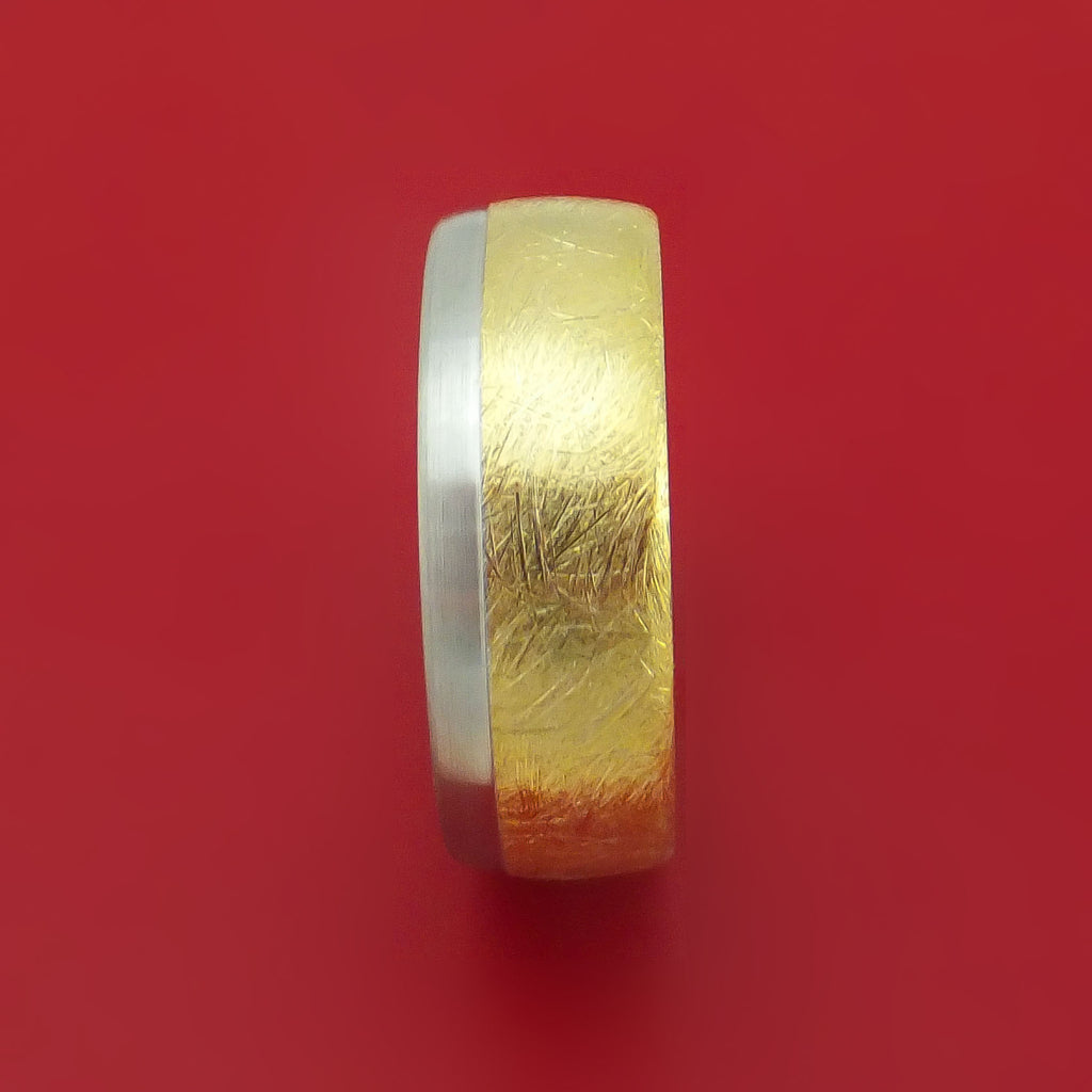14k White and Yellow Gold Distressed Band Custom Made
