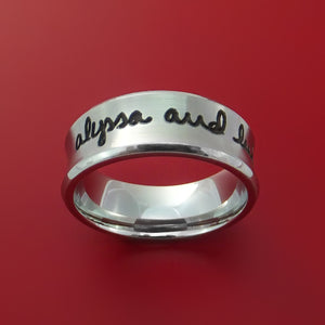 Cobalt Chrome Band with Custom Handwriting Laser Etched Custom Ring