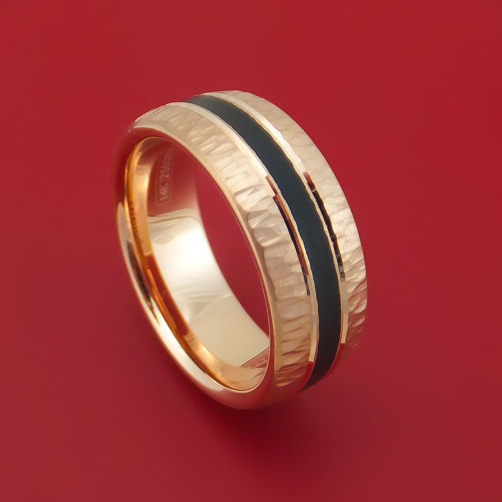 14k Rose Gold Hammered Band With Black Carbon Accent Custom Made: Carbon Fiber Wedding Band Rose At Reisefeber.org