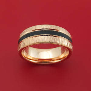 14k Rose Gold Hammered Band with Black Carbon Accent Custom Made
