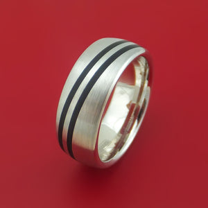 14k White Gold Band with Black Carbon Accents Custom Made