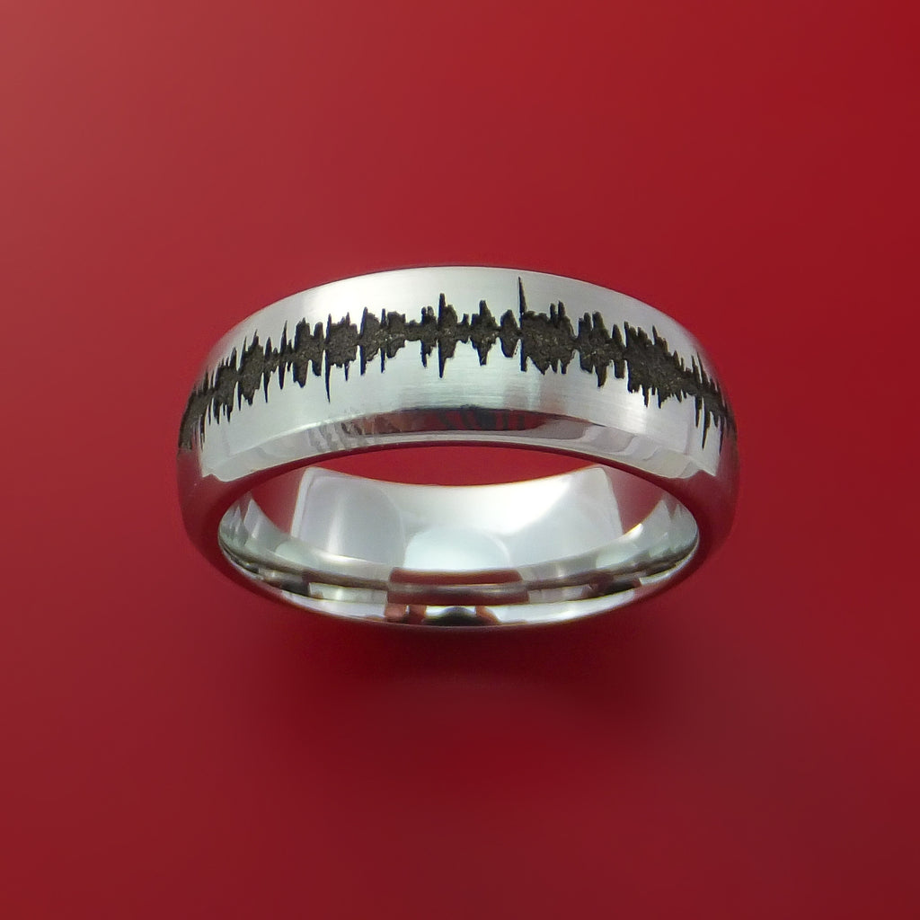Cobalt Chrome Custom Sound Wave Ring by Stonebrook Jewelry