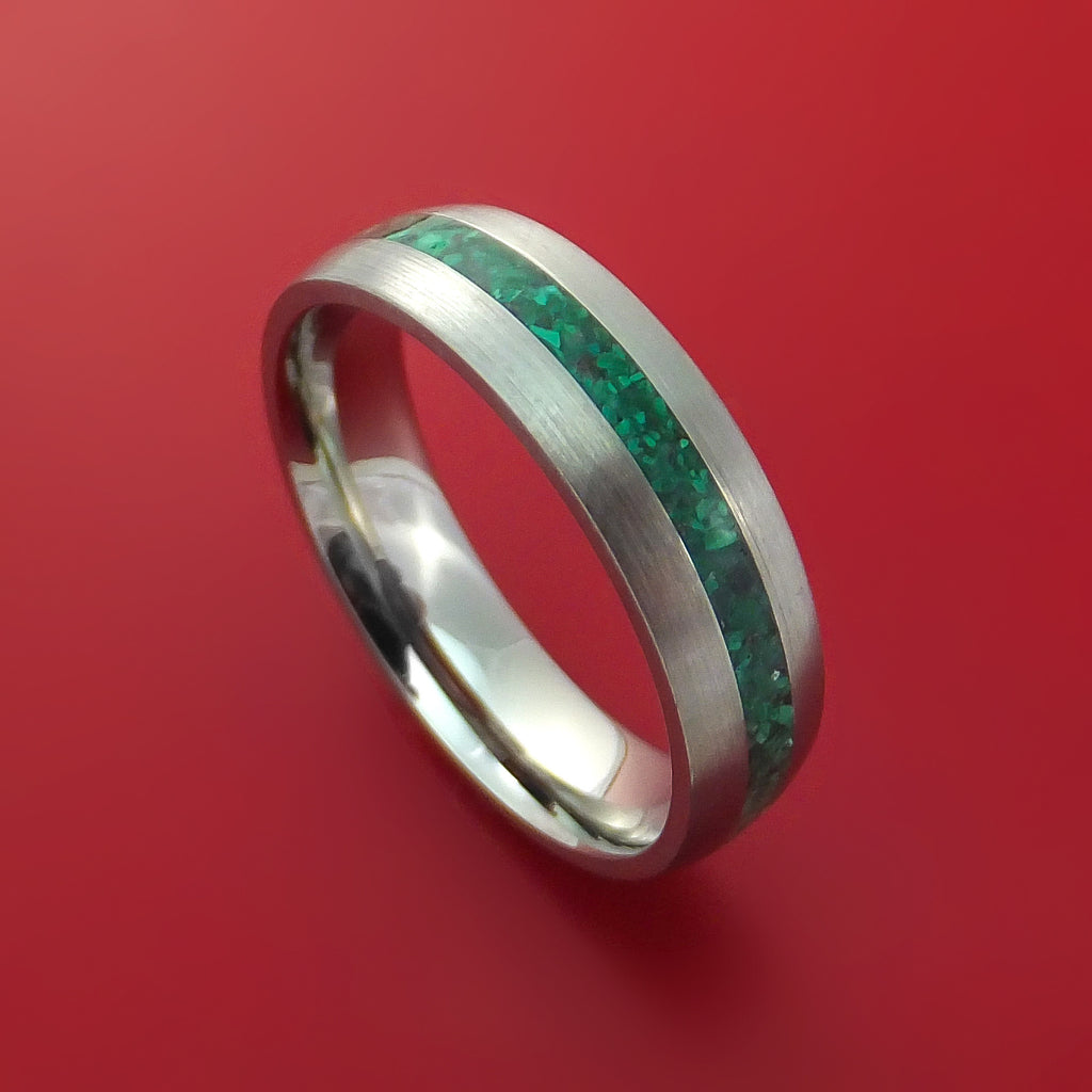 Titanium Ring with Malachite Stone Inlay Custom Made
