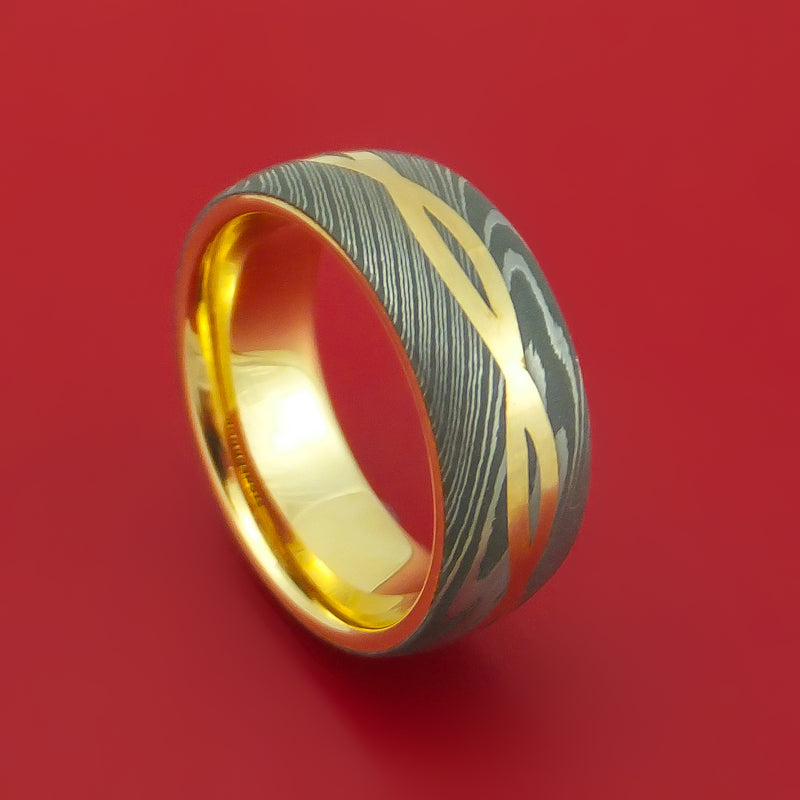 Damascus Steel 14K Yellow Gold Celtic Knot Ring Infinity Design with Sleeve Wedding Band