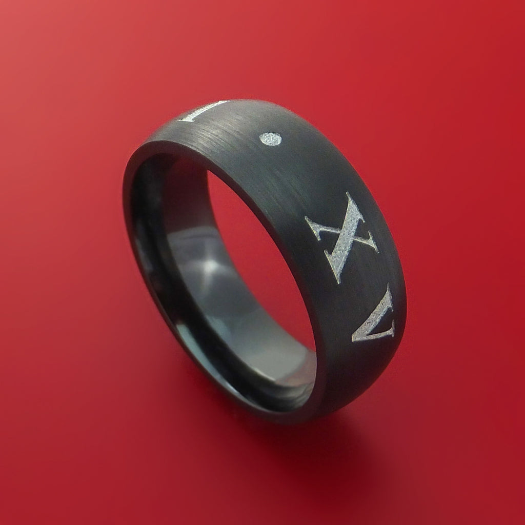 Black Zirconium Roman Numeral Ring Custom Made Band