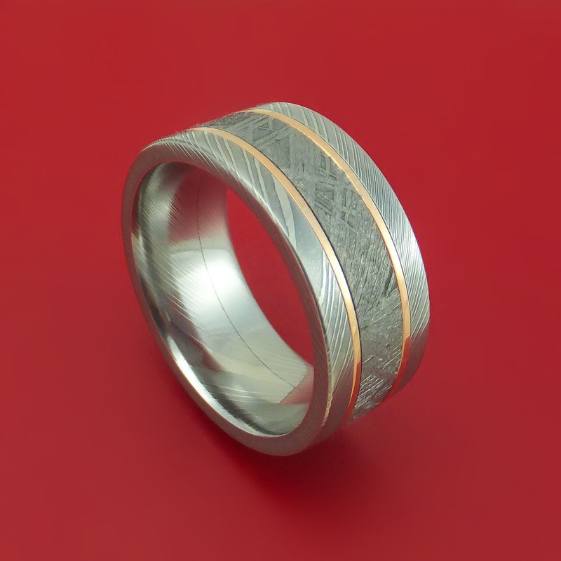 Damascus Steel Ring with Gibeon Meteorite and 14k Rose Gold Inlays Custom Made Band