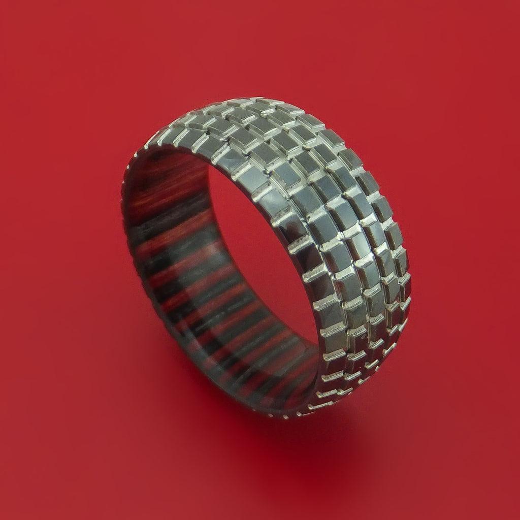 Black Zirconium Ring with Knob Tire Tread Pattern Inlay and Interior Hardwood Sleeve Custom Made Band