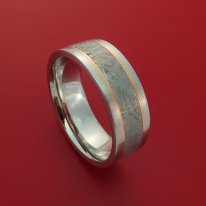 Cobalt Chrome Ring with Gibeon Meteorite and 14k Rose Gold Inlays Custom Made Band