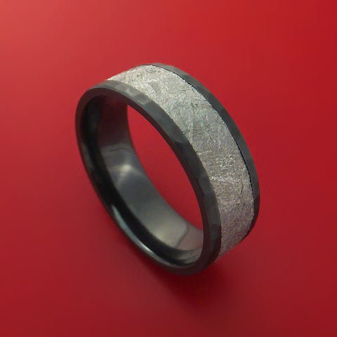 Black Zirconium Hammered Ring with Gibeon Meteorite Inlay Custom Made
