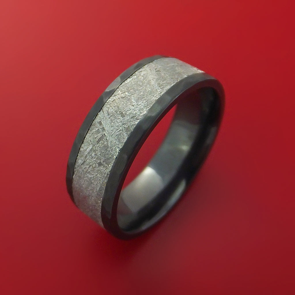 Black Zirconium Hammered Ring with Gibeon Meteorite Inlay Custom Made by Stonebrook Jewelry