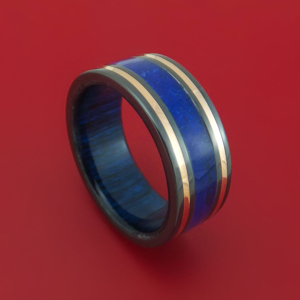 Black Zirconium Ring with Lapis and 14k Rose Gold Inlays and Interior Hardwood Sleeve Custom Made Band