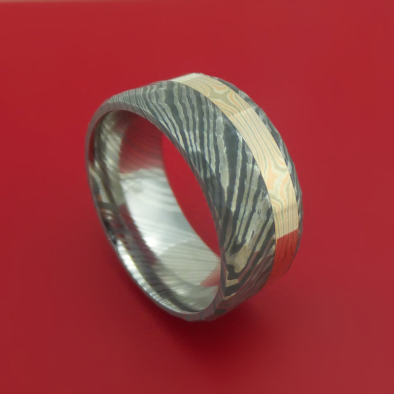 Damascus Steel and 14K Rose Gold, White Gold and Silver Mokume Hammered Band Custom Made
