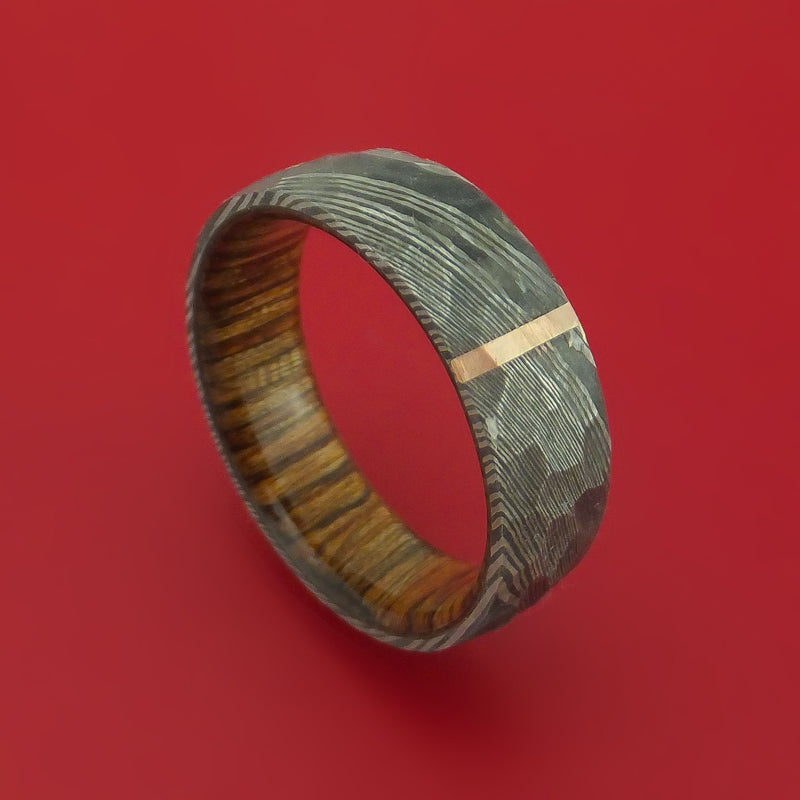 Hammered Damascus Steel Ring with 14k Rose Gold Inlay and Interior Hardwood Sleeve Custom Made Band