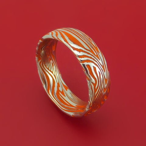 Sunset Kuro Damascus Steel and Hunter Orange Cerakote Ring Custom Made Band