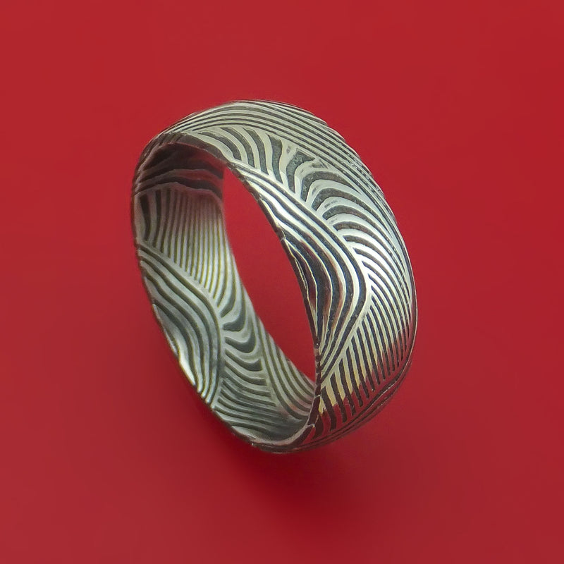 Sunset Kuro Damascus Steel Ring Custom Made Wedding Band
