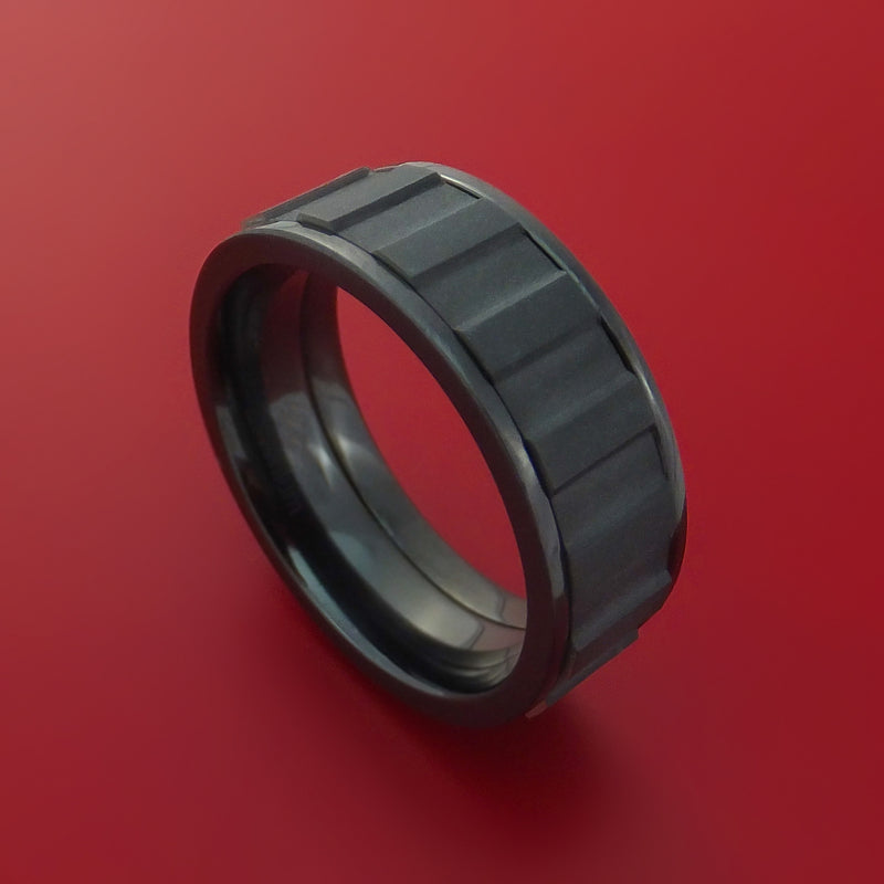 Black Zirconium Spinner Ring with Milled Gear Design Inlay Custom Made Band