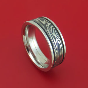 Sunset Kuro Damascus Steel in Cobalt Chrome Wedding Band Custom Made