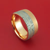 14k Rose Gold Ring with Gibeon Meteorite and Platinum Inlays Custom Made Band