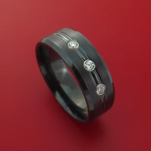 Black Zirconium Ring with Diamonds Custom Made Band