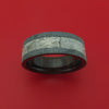 Black Zirconium Ring with Gibeon Meteorite Inlay and Interior Hardwood Sleeve Custom Made Band