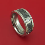 Cobalt Chrome Hammered Ring with Carbon Fiber Inlay and Diamond Custom Band