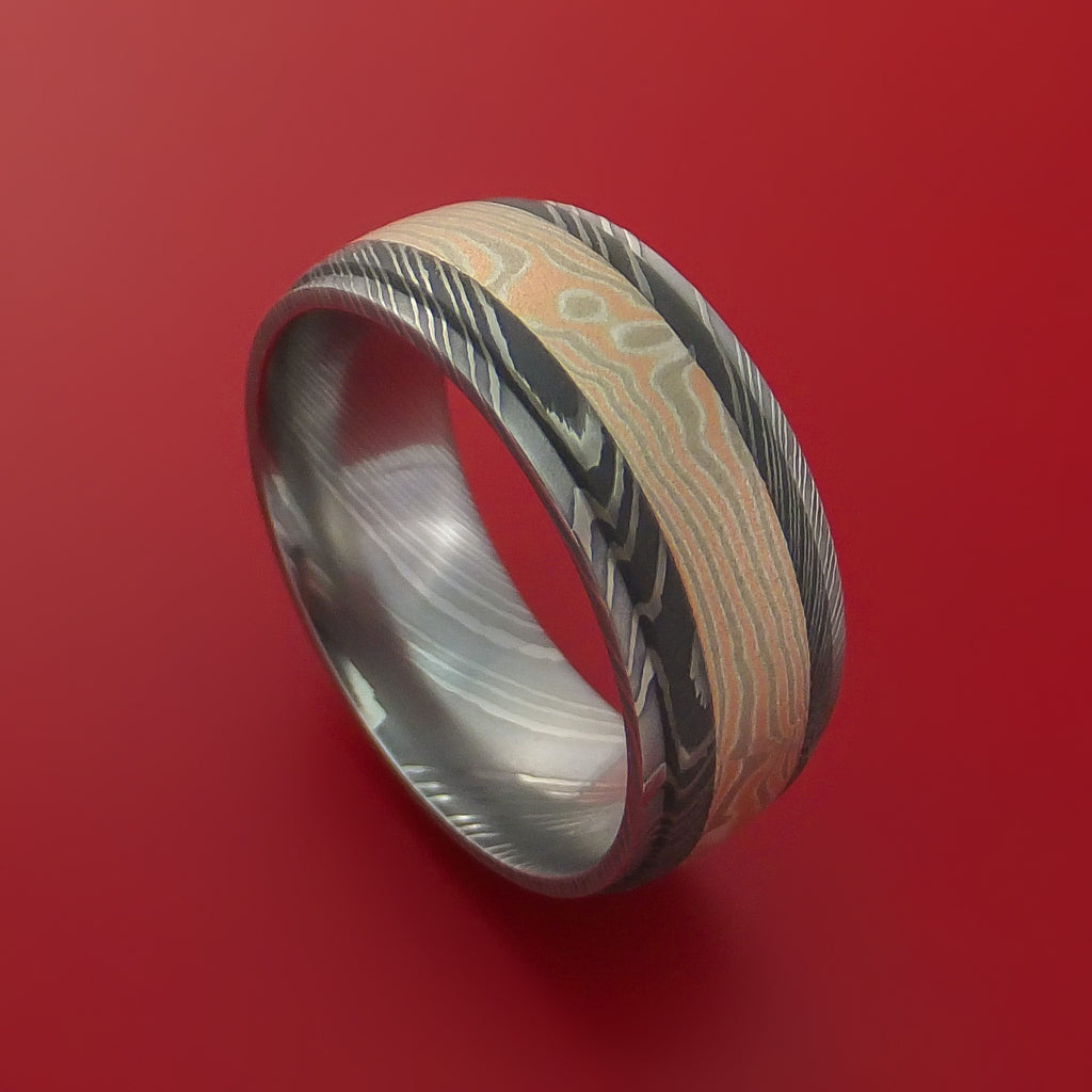 Damascus Steel Ring with 14k Rose Gold and White Gold with Silver Mokume Gane Inlay Custom Made Band