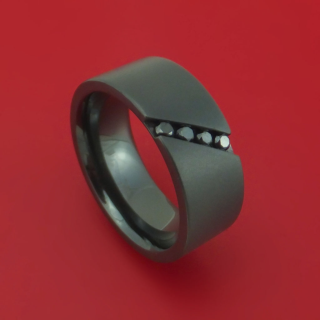 Black Zirconium Ring with Angled Chanel-Set Black Diamonds Custom Made Band