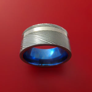 Damascus Steel Wide Ring with Platinum Inlay and Anodized Titanium Sleeve Wedding Band Custom Made