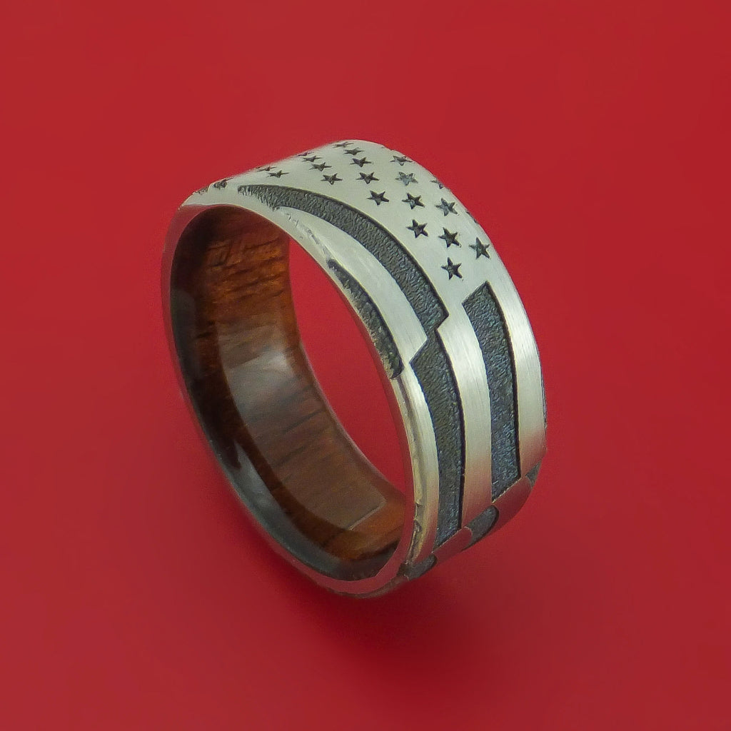 Titanium Ring with Laser-Etched American Flag Inlay and Interior Hardwood Sleeve Custom Made Band